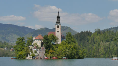Famous Church on the Island of Bled Lake in Slovenia Alps 4K UHD Timelapse Live Action