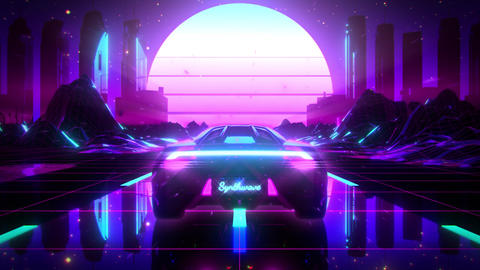3D Retro Synthwave City Landscape VJ Loop Motion Background Animation