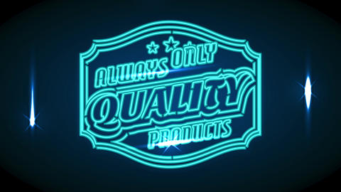 famous commercial product brand with quote always only quality products on neon futuristic theme Animation