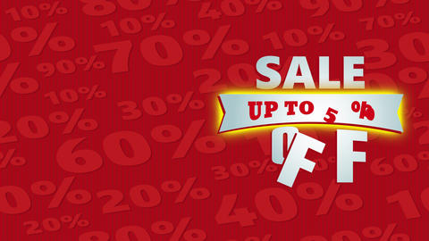 prices reduction agreement announcement up to 50 percentage off on patterned red scene with numbers Animation
