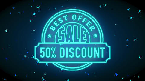 50 percentage sale excellent lower proposal on high desire products with blue neon round symbol and Animation