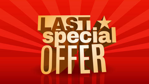 last special offer deadline announcement for big enterprise sale season with 3d golden letters over Animation