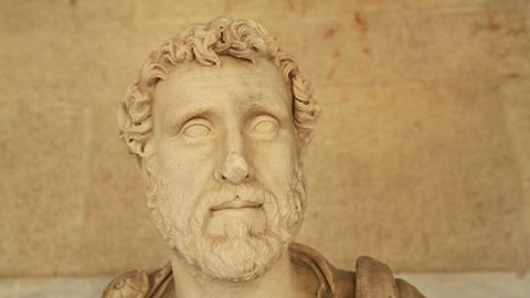 Close-up of Antonius Pius statue at Agora archaeological museum, Roman emperor Footage