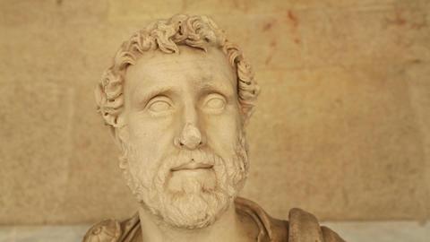 Close-up of Antonius Pius statue at Agora archaeological museum, Roman emperor Footage