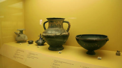 Ancient pottery exhibits at Agora Museum, archaeological excavations findings Footage