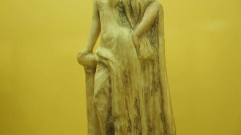 Close-up shot of marble statue with female body, exhibit at archeology museum Footage