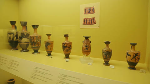 Exhibition of ancient Greek lekythoi, pottery for storing oil, old clay vessel Footage