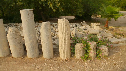 Pile of marble stones and columns, archaeological excavations findings in Agora Footage
