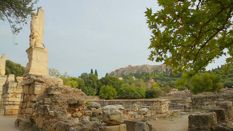 Antique sites of Athens, ancient ruins of Agora, cultural heritage conservation Footage