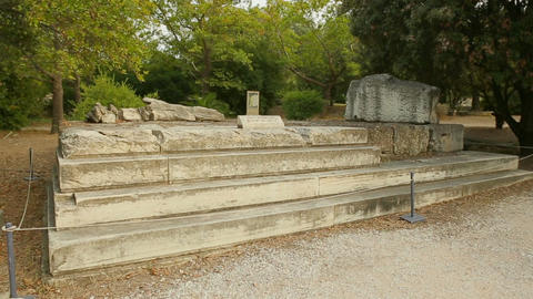 Ruins of ancient Altar to Zeus at open-air museum, place of tourist interest Footage
