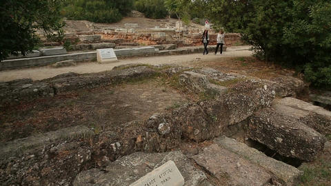 Remains of ancient great drain channel in Agora, ancient water treatment system Live Action