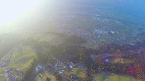 Aerial shot of amazing green landscape, beautiful nature, ecology, magic hour Footage