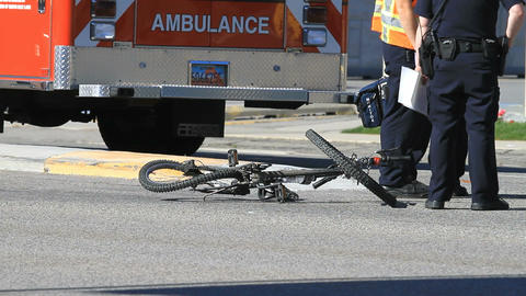 Accident bike bent in road P HD 0807 Footage