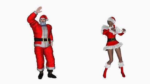 Santa Claus And Snow Maiden Dancing, Alpha Channel, loop, 2017 year Animation