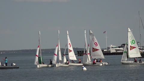 Annapolis Maryland Yacht Club sailboat youth training 4K 043 Stock Video Footage