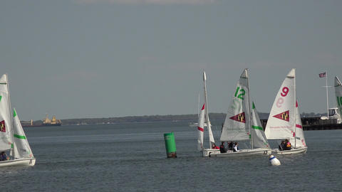 Annapolis Maryland Yacht Club sailboat training youth 4K 044 Footage