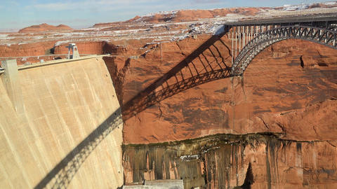 Arizona Glen Canyon Dam bridge from visitor center 4K Footage