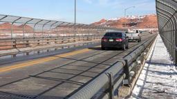 Arizona Glen Canyon Dam winter traffic across bridge 4K Footage