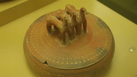 Antique ceramic jewel box with horse-shaped handle, ancient pottery exhibition Footage