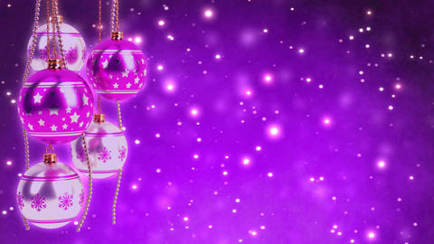 purple and silver christmas balls with glitter bokeh background. Seamless loop.  Animation