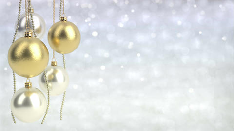 golden and silver christmas balls with bokeh background. Seamless loop. 3D rende Animation