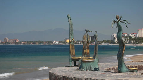 Beach chairs Puerto Vallarta Mexico P HD 4555 Footage