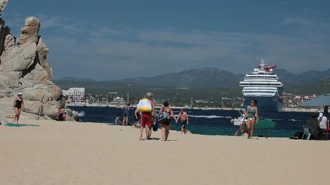 Beach ship swimmers Cabo San Lucas P HD 4952 Footage
