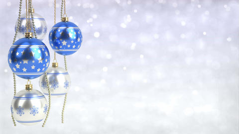 blue and silver christmas balls hanging on bokeh background. Seamless loop. 3D r Animation