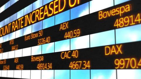 Names of world major stock exchanges, market quotes running on electronic ticker Footage