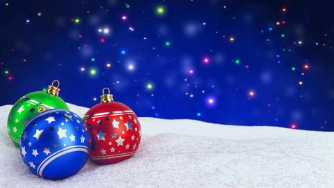 colorful christmas balls in snow on bokeh background. Seamless loop. 3D render Animation
