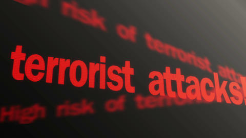 Warning, high risk of terrorist attacks. Red security text running on LED sign Footage