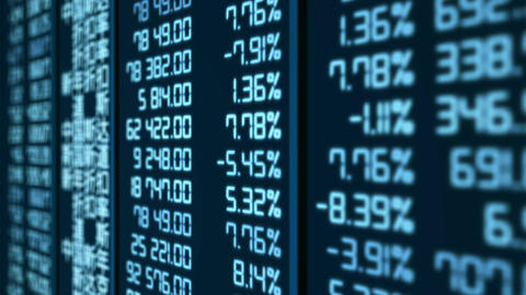 Stock market crash in China, pricing and quotes data updates on electronic board Footage