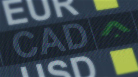 Canadian dollar rise, fall. World exchange market. Currency rate fluctuating Footage