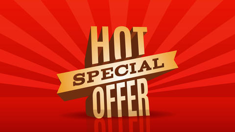 hot special offer web publicity for ecommerce business with huge letters over red brilliant floor Animation