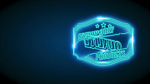 famous commercial product brand with quote forever lone quality products on neon future concept Animation