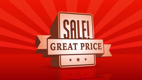 great price sale opportunity announcement for web publicity with 3d cube decorated with ribbon of Animation