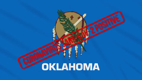 Oklahoma US state swaying flag stamped with positive response to COVID-19, loop Animation