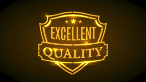 excellent quality brand advertisement with golden neon shield shape with sparkles and ribbon over Animation