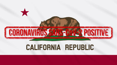 California US state swaying flag stamped with positive response to COVID-19 loop Animation