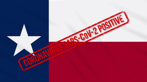 Texas US state swaying flag stamped with positive response to COVID-19, loop Animation