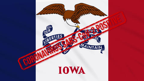 Iowa US state swaying flag stamped with positive response to COVID-19, loop Animation