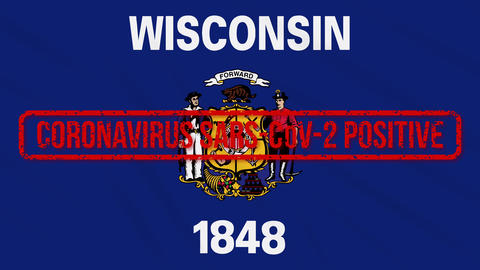 Wisconsin US state swaying flag stamped with positive response to COVID-19, loop Animation