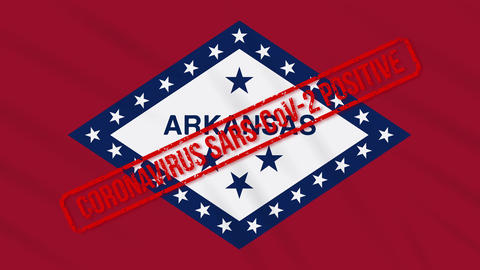 Arkansas US state swaying flag stamped with positive response to COVID-19, loop Animation