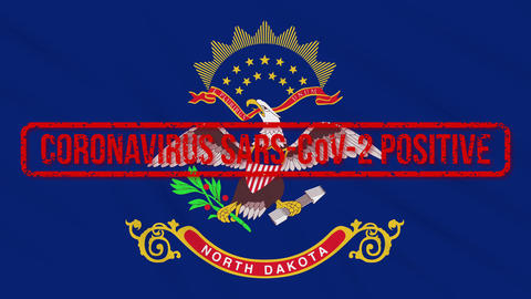 North Dakota US state swaying flag stamped with positive response COVID-19, loop Animation