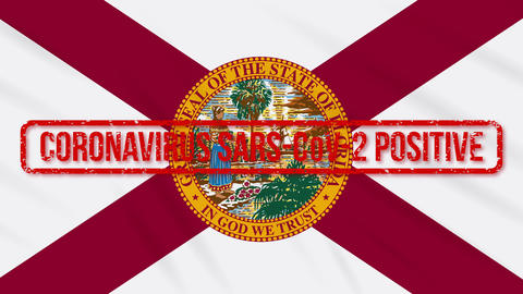 Florida US state swaying flag stamped with positive response to COVID-19, loop Animation