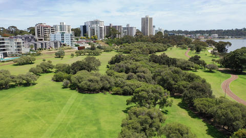 Drone aerial footage of Sir James Mitchell Park in South Perth in Western Australia Live Action