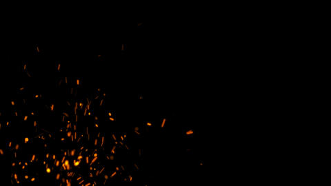 4K Realistic Hot Fire Sparks with Alpha Matte Channel Animation