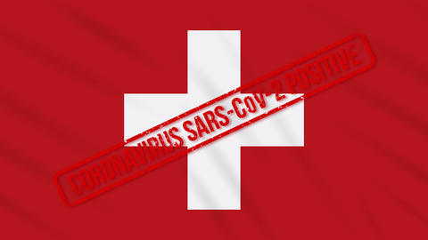 Switzerland swaying flag stamped with positive response to COVID-19, loop Animation