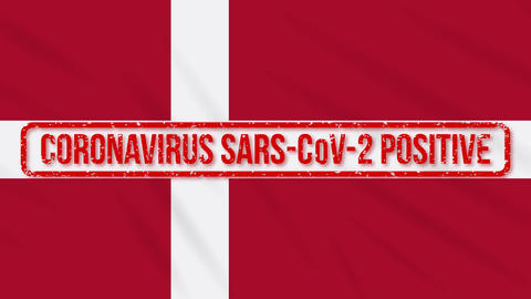 Denmark swaying flag stamped with positive response to COVID-19, loop Animation