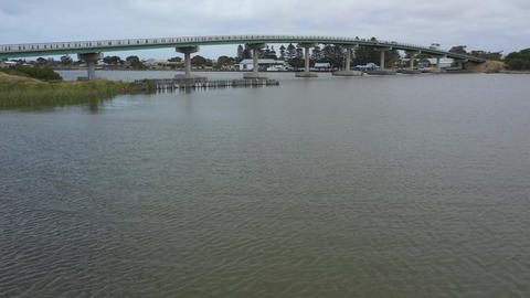 Drone footage of the Goolwa bridge in South Australia Live Action